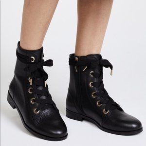 Kate Spade Raquel Black Leather Combat Boots